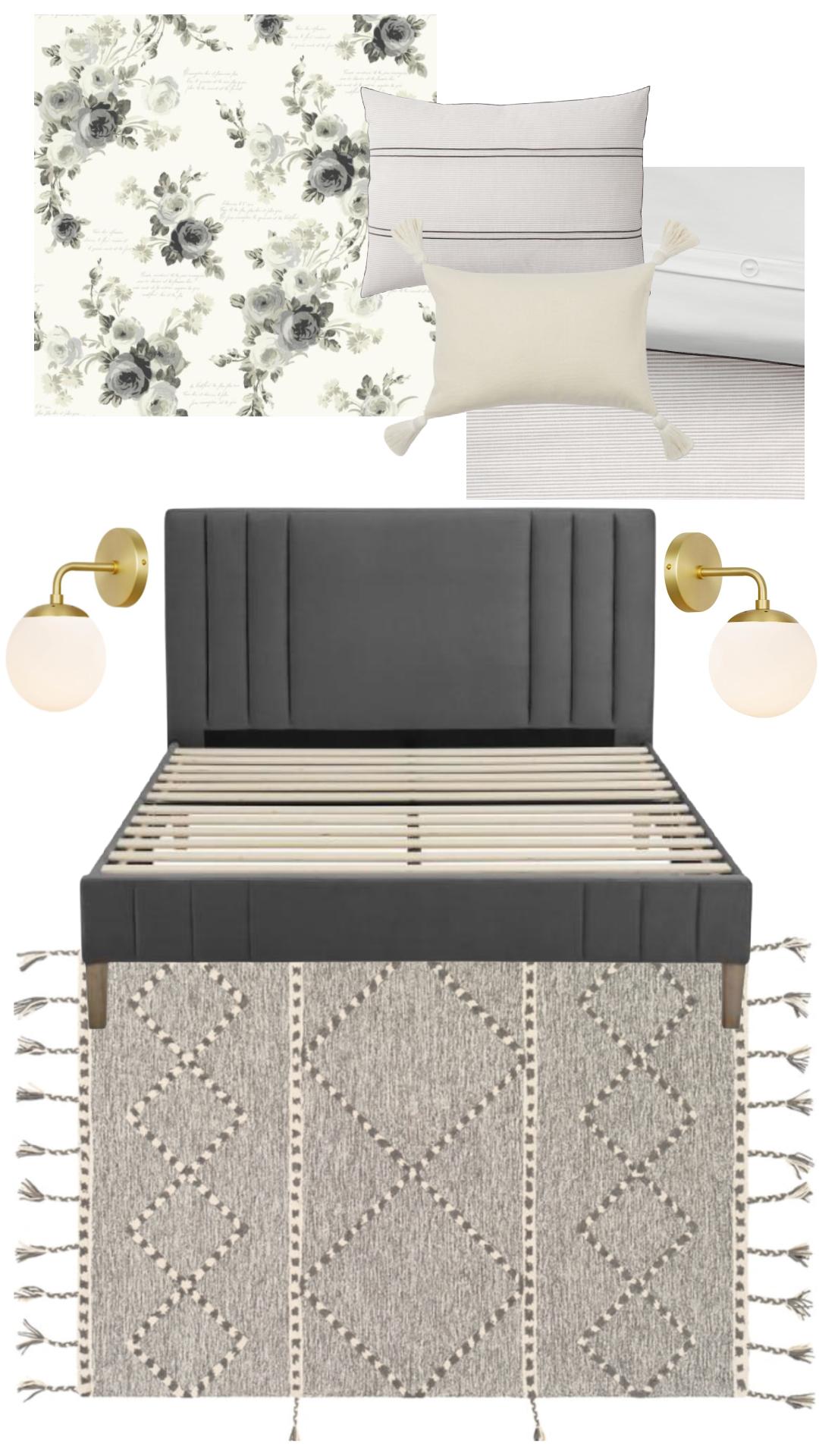 Small master bedroom ideas- peel and stick wallpaper bedroom