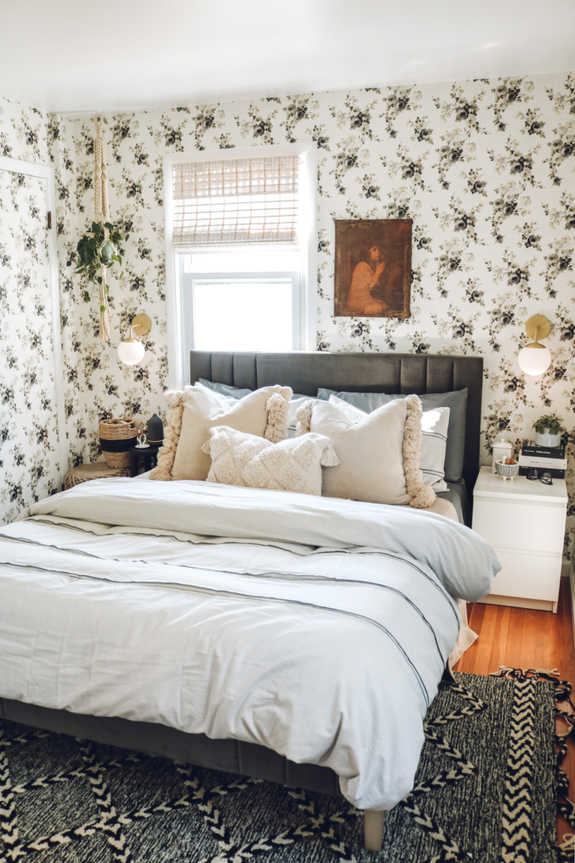 Small master bedroom makeover- floral removable wallpaper