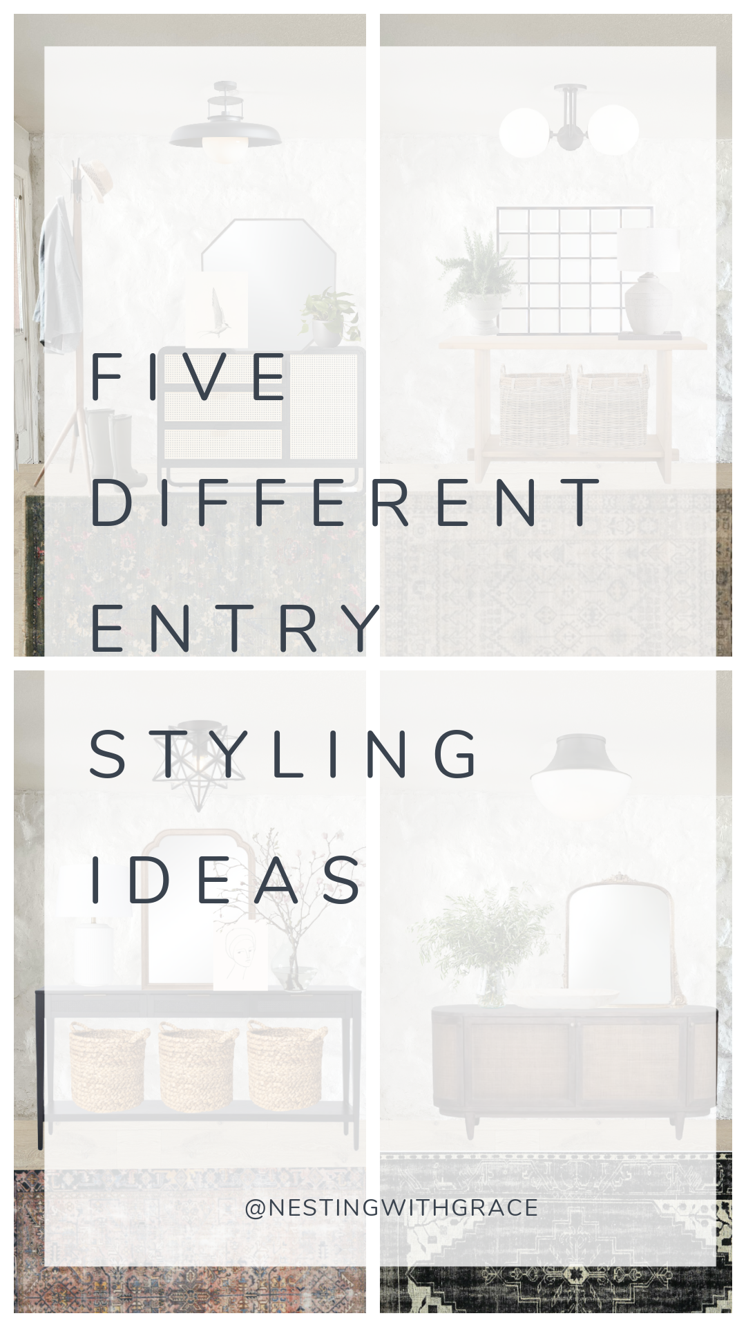 Five Entry Ideas with Painted Rock Wall as Backdrop