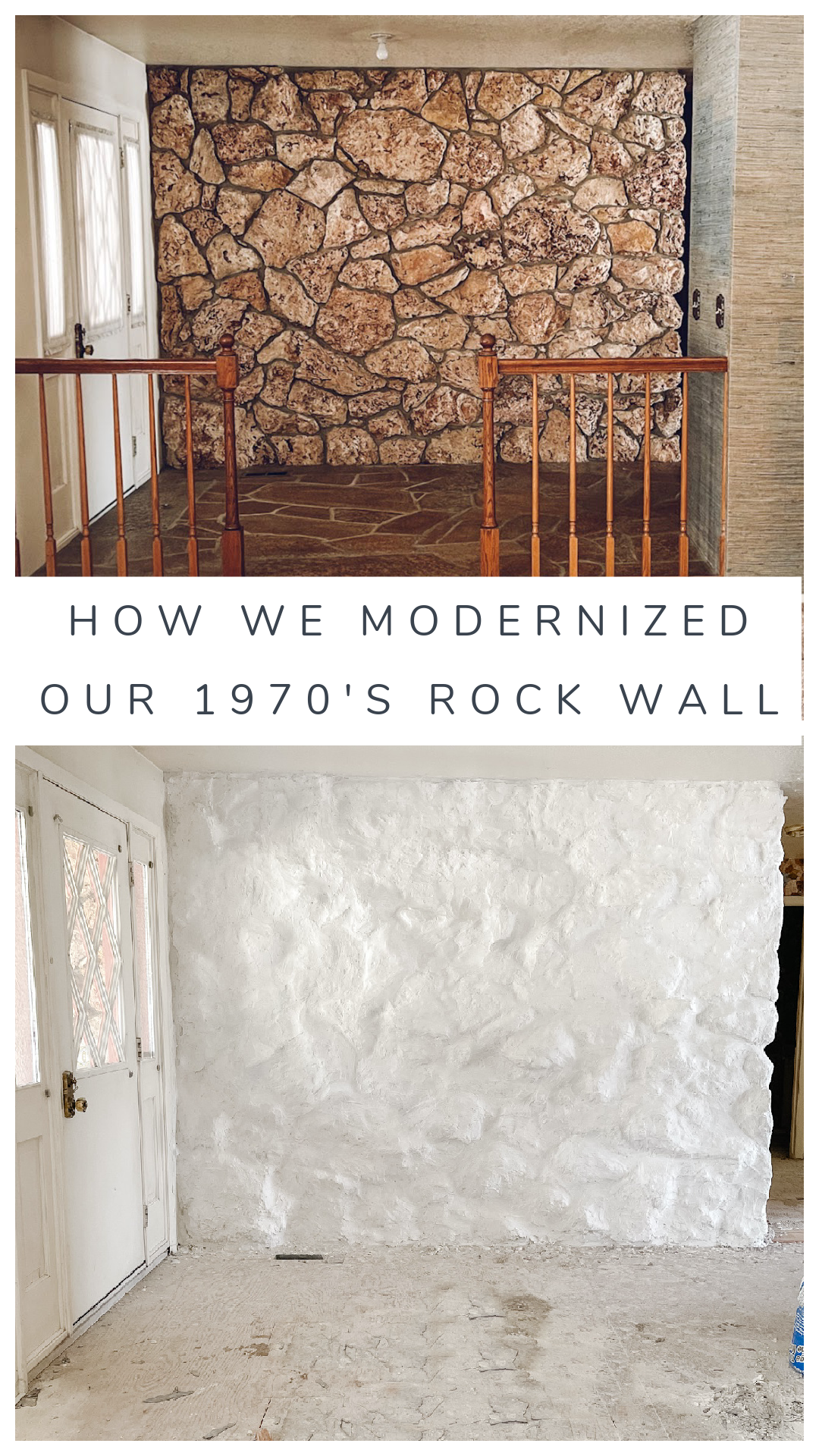 Rock Wall DIY- Painted White Rock Limewash over rock Painted white rock