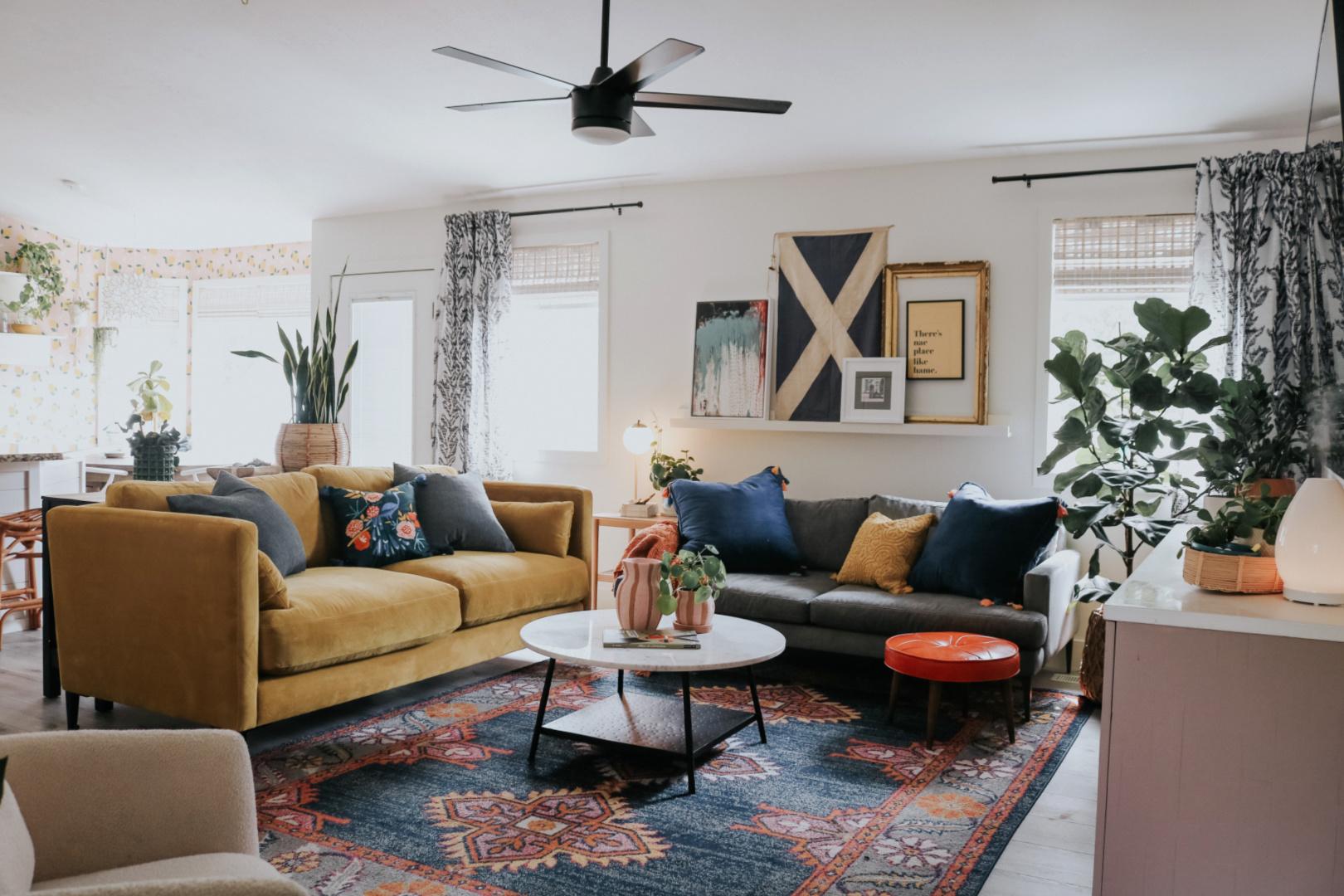 Colorful Fun Family Room- Vintage Inspired Velvet Sofa Picture ledge  Colorful family room Photo ledge Gold sofa Houseplants