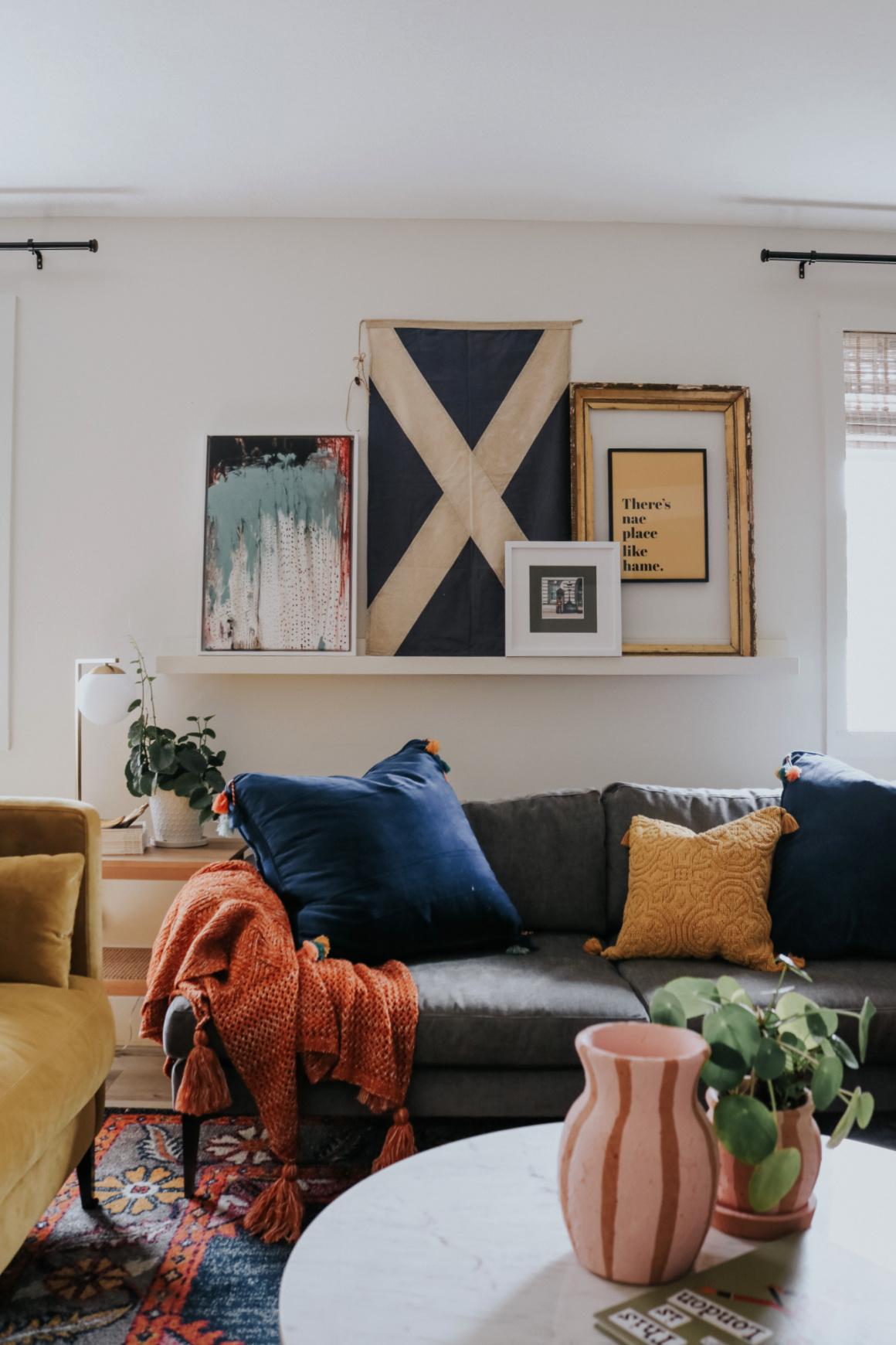 Colorful Fun Family Room- Vintage Inspired Velvet Sofa Picture ledge Colorful family room Photo ledge Gold sofa
